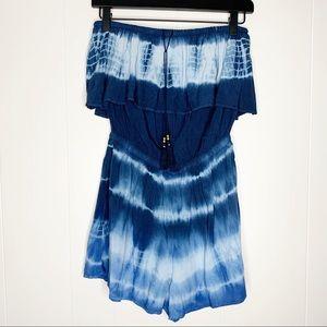American Eagle Blue Tie Dye Strapless Romper S